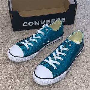 Converse CTAS OX Rapid Teal Glitter Style Shoes